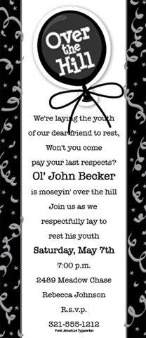 Over The Hill Wigglers Birthday Party Invitations