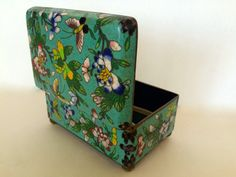 Antique Chinese Cloisonne Enamel Box Vintage Hinged Box 1900s Brass Metal Enamel Lidded Trinket Box Intricate Flowers Butterfly Garden by TizaVintage on Etsy https://www.etsy.com/listing/238828827/antique-chinese-cloisonne-enamel-box
