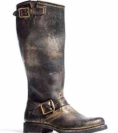 FRYE FOR COACH VERONICA TALL BOOTS BLACK GOLD METALLIC VINTAGE LEATHER 6.5 NEW