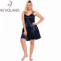 In'voland big size women sleepwear dress plus size sexy lingerie robe spaghetti strap lace satin large chemises nightgown Sexy Dresses, Plus Size Dresses, Formal Dresses, Plus Size Lingerie, Sexy Lingerie, Lingerie Dress, Lingerie Sleepwear, Women's Chemises, Sleepwear Women