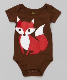 Look what I found on #zulily! Brown & Red Fox Bodysuit - Infant by Doodle Pants #zulilyfinds