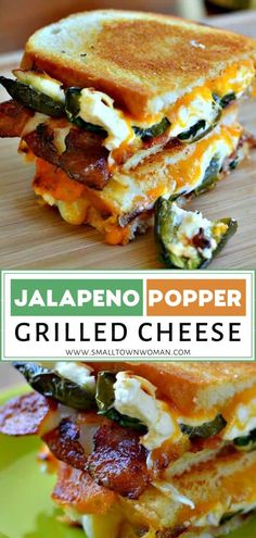 Jalapeno Popper Grilled Cheese is a delectable combination of baked cream cheese filled jalapenos, gooey cheddar, Monterey Jack cheese, and crispy bacon. Grill Sandwich, Soup And Sandwich, Steak Sandwiches, Grilled Cheese Sandwiches, Perfect Grilled Cheese, Lunch Recipes, Appetizer Recipes, Cooking Recipes, Appetizers
