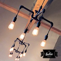Vintage Industrial Chandelier Loft Lamp & by IndieLightingCo