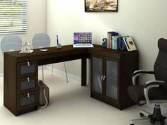 Mesa para Computador/Escrivaninha Espanha 2 Portas - 3 Gavetas com Vidro - Politorno 117704 com as melhores condições você encontra no Magazine Eandrooeandrooo. Confira!