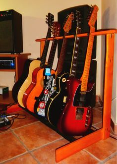 Guitar Storage Cabinet Awesome Zoom Guitar Multi Effects Processor Diy Guitar Stand, Wooden Guitar Stand, Guitar Display, Easy Guitar, Cool Guitar, Guitar Storage, Guitar Rack, Guitar Hooks, Guitar Shelf