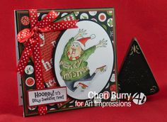 Art Impressions Rubber Stamps: Ugly Sweater Set (Sku#4350) Ai Christmas handmade card.  Hooray!  It's ugly sweater time!