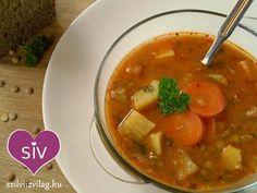magyaros lencseleves - Finom vegetáriánus receptek egészségesen. Lentils, Chickpeas, Thai Red Curry, Beans, Vegetarian, Ethnic Recipes, Soups, Food, Meal