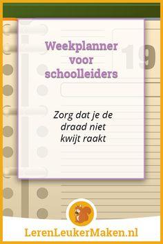Weekplanner voor schoolleiders - Als schoolleider komt er gedurende een week van alles op je af. Je gaat van overleg naar overleg en je actielijstje wordt steeds langer. Zodra je dan ...
