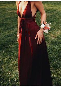 A-Line Deep V-Neck Prom Dress, Sleeveless Floor-Length Prom Dress, Burgundy Backless Prom Dress