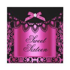 Sweet Sixteen Sweet 16 Damask Hot Pink Black invitation by zizzago