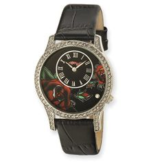 Antoinette - Ladies - Black Dial: This is Big sparkly Ed Hardy wristwatch for a gal that likes larger ladies watches. Feminine red roses on the face. Swarovski crystals give this watch some extra dazzle!