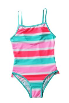 Striped Ruffle Trim Girls Swimsuit