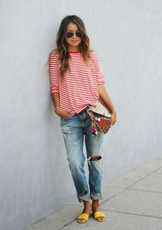 I don't think you would go for the ripped jeans part but any light wash boyfriend jeans would work. I like the striped t-shirt a lot and think something like this would be cute on you and good when running around with the kids. By Sincerely Jules.