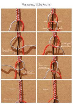 Makramee Weberknoten, macramé square knot