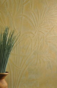 Venetian Plaster with stencil. This finish is from Armourcoat  and features the Stencil Library's GR66 Paradise Palm stencil .