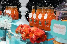 Teal and Orange Candy Buffet