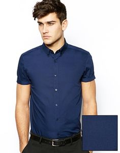 ASOS Smart Shirt In Short Sleeve With Button Down Collar In Cotton
