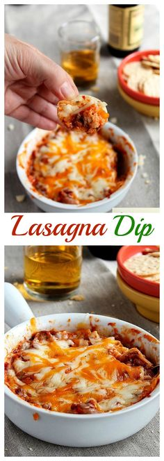 {Italy} All the wonderful flavors of lasagna in this cheesy, beefy, warm and cozy, absolutely delicious Lasagna Dip!