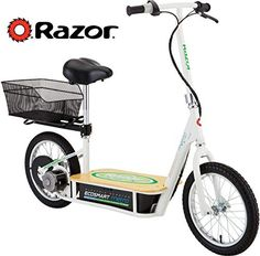 Razor EcoSmart Metro Electric Scooter For Adults - High Torque Motor, Up to Air Filled Tires, Rear Wheel Drive, Height Adjustable Seat and Detachable Luggage Basket, Bamboo Deck Best Electric Bikes, Electric Cars, Street Legal Scooters, Electric Scooter With Seat, Scooter Price, Pneumatic Tube, Bamboo Decking, Chain Drive, Kick Scooter