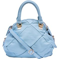 Zhanga Sky Blue Leather Quilted Satchel ($139) found on Polyvore