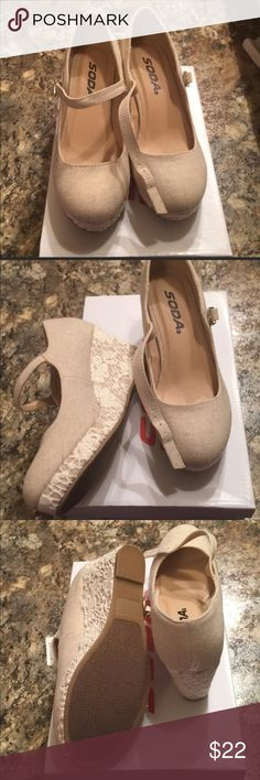 Girls wedges Shoes size 3. Color is ivory or cream. Shoes has a wedge heel. Has a lace crochet look. Never been worn, new with tags Shoes Dress Shoes