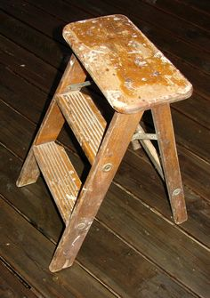 Mid Century Ladder Step Stool Great Plant Stand & Step Stool Perfect Patina Rustic Decor