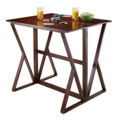 Cool Winsome Harrington Drop Leaf High Table Med Brown