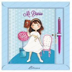Diario Primera Comunión niña smile  Libros para Primera Comunión Diario de Primera Comunión en color rosa con ilustración de niña con vestido de comunión y biblia en la mano. Incluido boligrafo touch.