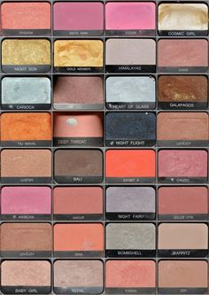 NARS e.s. I know the names.... you can tell they are loved: tip of the day...brown matte eyeshadows, or brown creme eyeshadows (any brand) make good emergency grey hair touchups, until you can get your hair done..