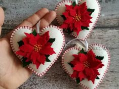 Felt Poinsettia ornament, White Heart ornament with Red Poinsettia flower, Christmas decoration, Christmas decor / MADE TO ORDER - Christmas joy Handmade Christmas Decorations, Felt Decorations, Felt Christmas Ornaments, Valentine Decorations, Christmas Nativity, Flower Decorations, Felt Crafts Diy, Christmas Projects, Holiday Crafts