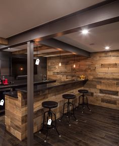 If you anticipate having a bar in your man cave, then you will probably require a means to hold all your shot glasses. Nowadays you own a bar to call all of your own! The bar seamlessly transitions into the… Continue Reading → Rustic Basement Bar, Basement Bar Designs, Home Bar Designs, Industrial Basement, Modern Basement, Teen Basement, Rustic Kitchen, Basement Office, Basement Apartment