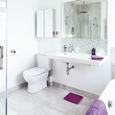 White bathroom with large basin and purple accents | Bathroom decorating | Style at Home | Housetohome.co.uk