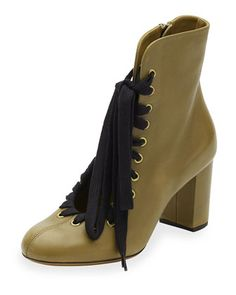 Chloe Lace-Up Leather Ankle Boot, Khaki Green