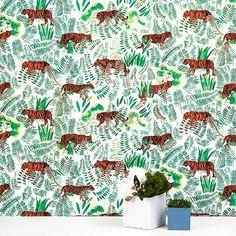 Burma - Vetiver - Color: Green, orange, black, and white Inspiration Wall, Interior Design Inspiration, Jungle Nursery, Design Repeats, Kitchen Wallpaper, Inspirational Wallpapers, Pattern Wallpaper, True Colors, Color Show