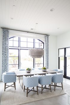 white and blue luxe formal dining room