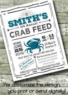 CRAB FEED ~ Crab Boil ~ Crab Fest ~ Crab Feast ~ Party ~ 5x7 Invite ~ 8.5x11 Flyer ~ 11x14 Poster ~ 300 dpi Digital Invitation by DitDitDigital on Etsy