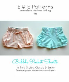 Elegance & Elephants: Bubble Pocket Shorts Pattern - sizes 6 months to 8 years - $9