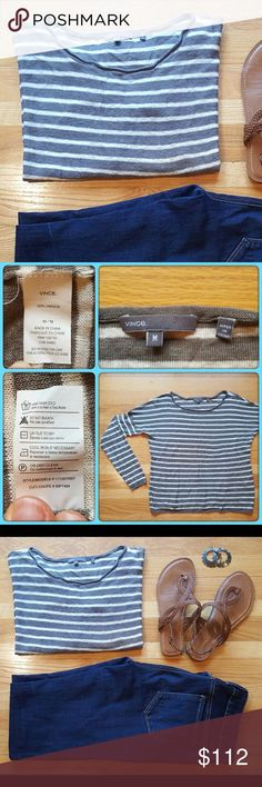 Vince Linen Sweater Flowy sweater from Vince in grey and white stripes. Dress it up or down. In great used condition. Make me an offer. Discount on bundles of 2 or more. Vince Sweaters Crew & Scoop Necks