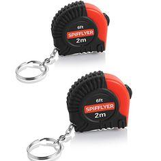 Spifflyer Mini Measuring Tape Keychain 6FT/2M, PVC Coated...