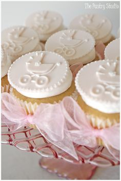 It's A Girl! Pink Vintage Antique Baby Carriage Cupcakes with Bows....sweetness!