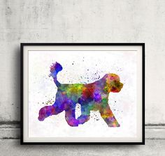 Portuguese Water Dog 01 in watercolor - Fine Art Print Glicee Poster Decor Home Watercolor Gift Illustration Dog - SKU 0348 by AnimalArtPosters on Etsy
