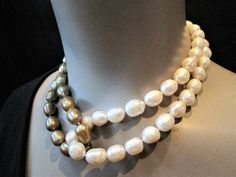 Chunky Pearl Necklace Gold White Double Strand Baroque Pearls Choker Big Bold Statement Womens Clothing Bridal Jewelry Black Formal Dress by CheriClever on Etsy https://www.etsy.com/listing/480127268/chunky-pearl-necklace-gold-white-double