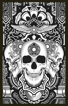 Skull Coloring Pages, Printable Adult Coloring Pages, Cool Coloring Pages, Colouring Pics, Animal Coloring Pages, Coloring Pages To Print, Coloring Books, Tatuagem Trash Polka, Arte Obscura