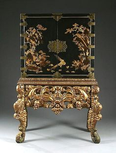 Buy online, view images and see past prices for A black Japanned and gilt decorated collectors cabinet on an associated carved and gessoed gilt wood stand,. Invaluable is the world's largest marketplace for art, antiques, and collectibles. Asian Furniture, Classic Furniture, Fine Furniture, Furniture Plans, Furniture Decor, Painted Furniture, Furniture Design, Plywood Furniture, Kitchen Furniture