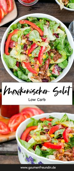 Low carb - Mexican salad with minced meat and Low Carb – Mexikanischer Salat mit Hackfleisch und Avocado Spicy, Mexican salad with minced meat, kidney beans, corn and salsa – a quick and easy low carb recipe – a food palate friend - Meat Recipes, Mexican Food Recipes, Low Carb Recipes, Salad Recipes, Healthy Recipes, Ethnic Recipes, Gourmet Recipes, Smoothie Recipes, Healthy Gourmet