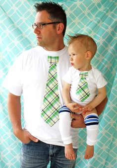 Baby Boy Set of Tie Shirts for Daddy and Son.  Any Size Onesie and Any Size T-Shirt.  New Dad, Baby Boy, Christmas Holiday Gift. $39.50, via Etsy.
