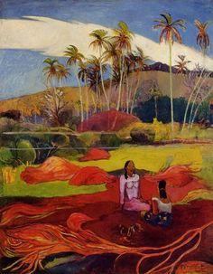 Tahitian women under the palms via Paul Gauguin Medium: oil on canvas