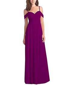 Lilyla Women's Chiffon Off Shoulder Ruched Bridesmaid Dresses Long Formal Prom Dress for Women 2018 Epplant Country Style Bridesmaid Dresses, Long Bridesmaid Dresses, Homecoming Dresses, Wedding Dresses, Vestidos Junior, Junior Dresses, Formal Prom, Formal Dresses, Cocktail Gowns