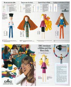 Worry Doll crafts tutorial instructions from DMC embroidery floss using toothpicks. I mailed away for this kit when I was a kid and I still have the pamphlet!
