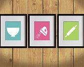 Kitchen Art Print - Plain Background, Baking Utensils, White - Set of 3 - 8X10 - Bondi Blue, Hot Pink, Apple Green - No. KB007-2